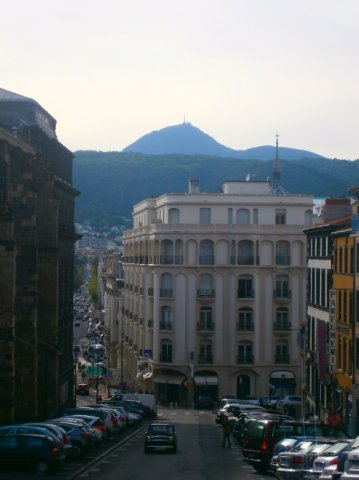 Street View with Puy-de-Dôme in the Background.