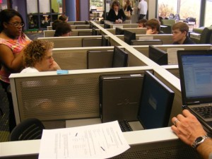 Students sign up for classes online