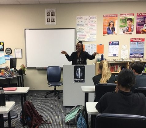 Glenis Redmond shares some of her favorite poetry with Brashier students. (Angela Coppola)