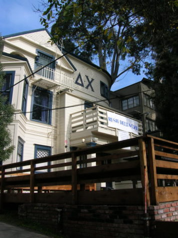 A Delta Chi fraternity house at University of California Berkeley encouraging people to join (Photo by reccaphoenix at Morguefile).
