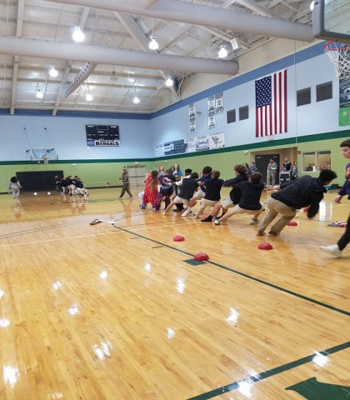 The freshmen vs. seniors in a battle of tug-of-war during a Spirit Week buyout. (picture taken by Kamryn Mattison)