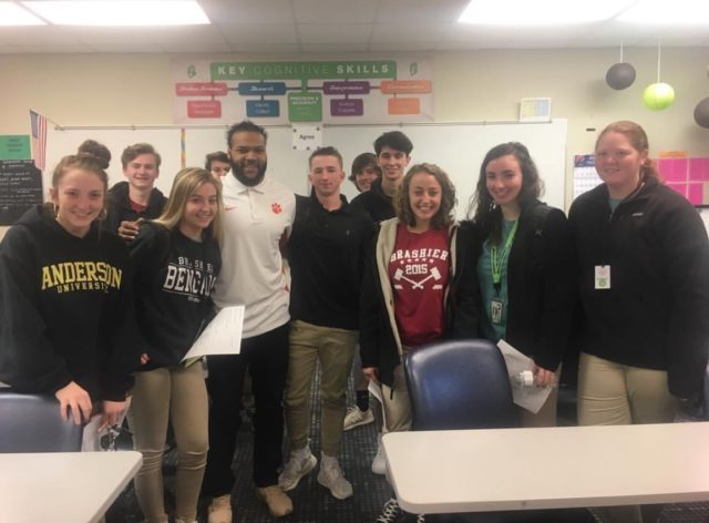 One of the college sessions gave students the opportunity to learn more about what it's like being a student athlete. Quentin Hall, a former football player for Clemson, was one of the few representatives who shared his experiences (Photo by Angela Coppola).