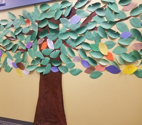 This is the Kindness Tree that was created during Kindness Week by the Kindness Counts Team; written on the leaves are students' thoughts on kindness and why it is important to them. (Picture taken by Kamryn Mattison)