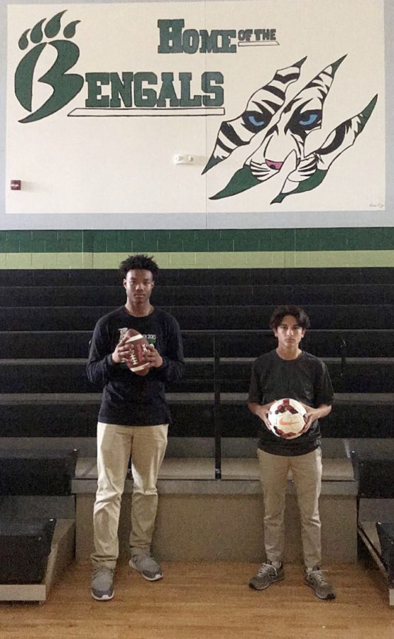 Seniors Tanner Barnes (left) and Brahian Gutierrez (right) will both be playing a sport in college. (Photo taken by Mary Grace Sanders)