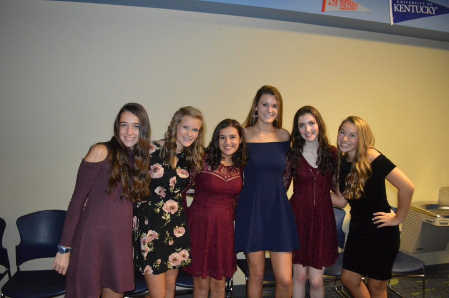 Sophomores (left to right) Eva Giguere, Grace Campbell, Ana Sallurday, Katelyn Morgan, Natalie Derosa, and Allie Weber pose after a long night of dancing (Photo courtesy of Mallory Smith).