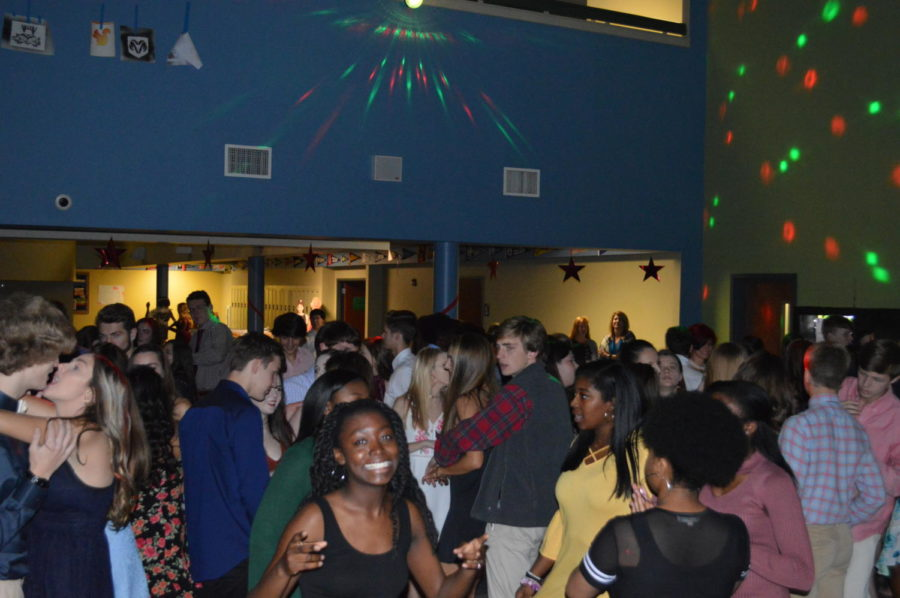 Student forum members, such as senior Kenya Adams (bottom left), worked extremely hard in order to make this dance successful and full of spirit (Photo courtesy of Mallory Smith).