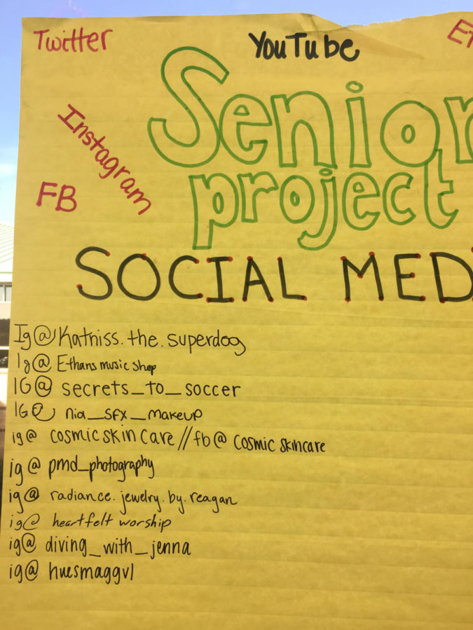 Social media accounts used by Senior Project students to share their progress (Photo courtesy of Lauren Lehman).