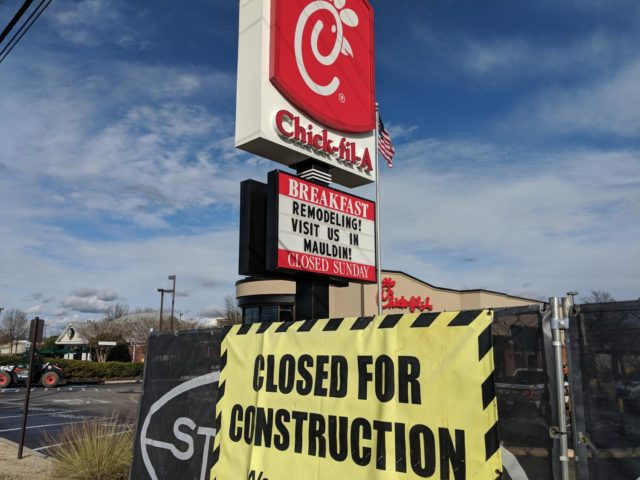 The temporary closing of Chick-Fil-A came as a surprise to most Simpsonville residents and has left most people feeling a little lost (Photo courtesy of Mallory Smith).