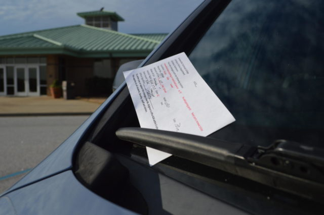 Over the years, parking at Brashier has steadily become a problem. Despite the numerous tickets being given, the problem persists (Photo courtesy of Mallory Smith).