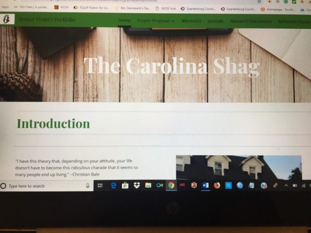 This is the home page of my Senior Project website, which is required of every senior. Senior Project is one of the hallmarks of Brashier. However, it doesn't have to be as frightening as many people make it out to be (Photo Courtesy of Ashlyn Athey).