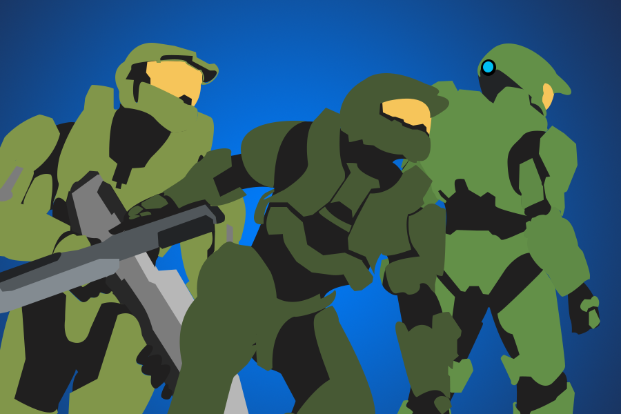 Three different iterations of Master Chief from Halo 3, 4, and Infinite (Photo credits to Alexander Gray).