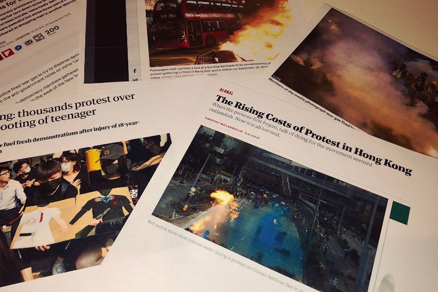 These articles and images show what is happening in Hong Kong (Photo courtesy of Sarah Neal).