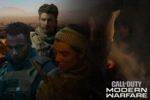 "Photo of protagonists from the Modern Warfare campaign with the background being from the mission ""Highway of Death."" (Photo courtesy of Alexander Gray)."