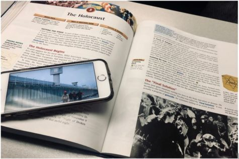 This image shows the pages of a history textbook depicting the holocaust. An image of the Uighur camps today shows the similarities of the two camps (Photo courtesy of Sarah Neal).