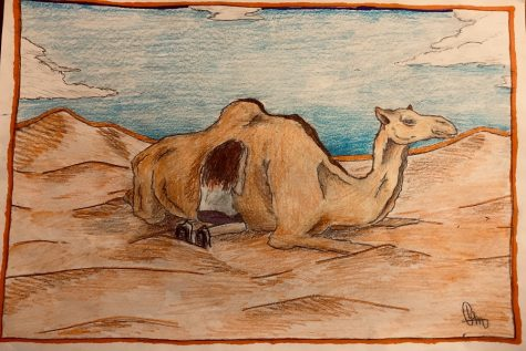 "Artwork by Brashier student Brendon Maness depicting the metaphorical similarity between Gemma and the camel in ""Stolen"" (Photo courtesy of Madison Crumpton)."