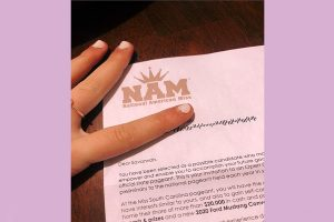 All around the country, families and their daughters have been receiving this letter of nomination from National American Miss (Photo courtesy of Savannah Garrison).