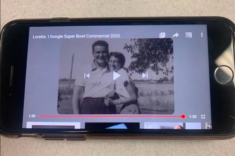 The commercial entitled 'Loretta' shown at the 2020 Super Bowl follows the love of an old man and his late wife Loretta. He goes through the things he wants to remember about her and tells them to his Google Assistant (Photo courtesy of Annaleisa Wile).