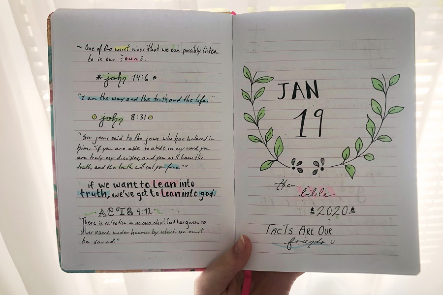 Devotionals help to emphasize God's Word and to express your creativity as well (Photo courtesy of Savannah Garrison).