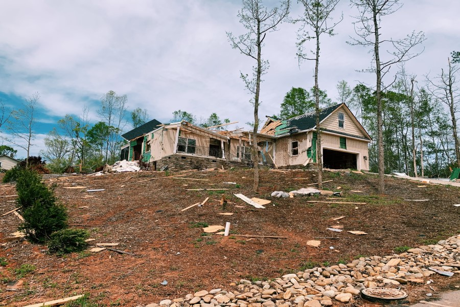 This image displays one of the houses impacted by the tornado (Photo courtesy of Austin Jones).