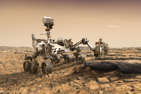 Perseverance, the newest Mars rover, has just touched down on the red planet (photo credit to NASA).